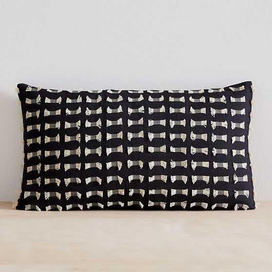 """Cotton Silk Pixel Pillow Cover, Set of 2, Black, 12""""x21"""" - West Elm"""
