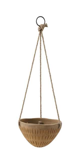 Round Hanging Terracotta Flower Pot with Jute Ropes - Moss & Wilder