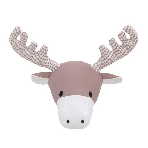 NoJo Brown and White Moose Plush Head Wall Decor - Home Depot