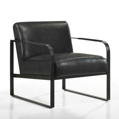 Mason Lounge Accent Chair in , Black Genuine Leather - Wayfair
