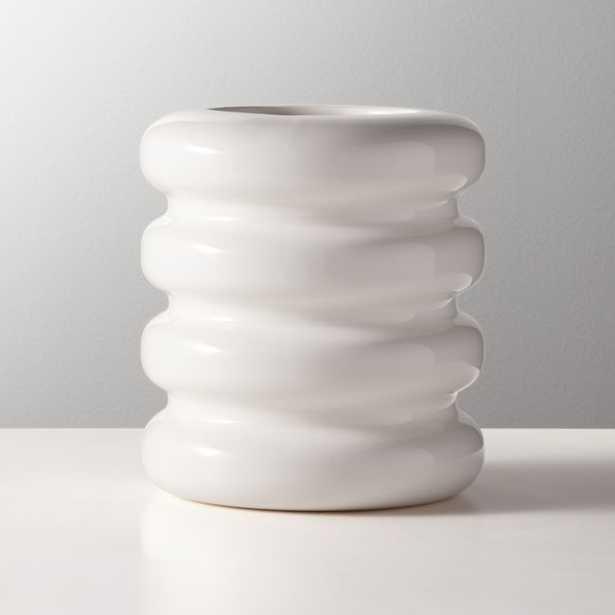 Tier Shiny White Vase - CB2