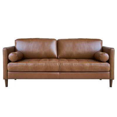 """Gillmore 55"""" Wide Genuine Leather Square Arm Loveseat - Wayfair"""