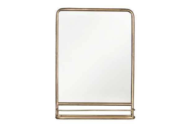 Brass Metal Mirror with Shelf - Nomad Home