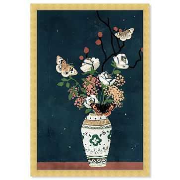 Oliver Gal Moth Delicate Floral Gold Display Framed Art, Multi - West Elm