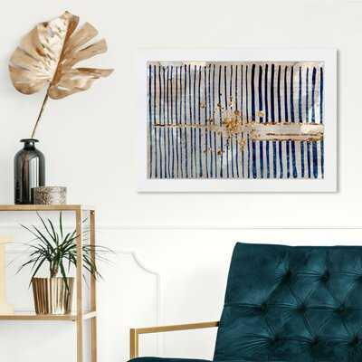 'Love Force Field Abstract Art' Graphic Art on Canvas in Blue/Gold - AllModern