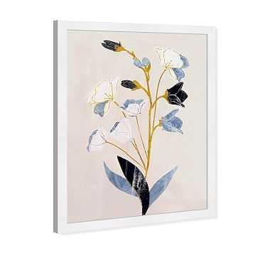 "Oliver Gal 'White Flowers with Ochre' Floral & Botanical Framed Wall Art, 24""x36"" - West Elm"