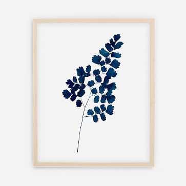 "Living Pattern Indigo Maindenhair Fern No. 1 Print, 16""x20"", Natural Frame - West Elm"