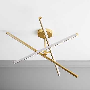 Light Rods LED Chandelier, Small, Antique Brass Canopy - West Elm