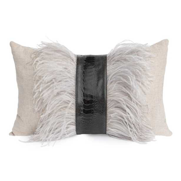 Ngala Trading Co. Feathers Lumbar Pillow Color: Natural Linen/Gray Ostrich Feather - Perigold