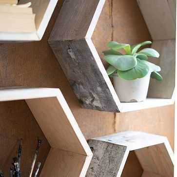 Recycled Wood Hexagon Wall Shelves, Whitewash, Set of 4 - West Elm