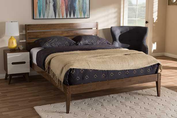 Baxton Studio Elmdon Mid-Century Modern Solid Walnut Wood Slatted Headboard Style King Size Platform Bed - Lark Interiors