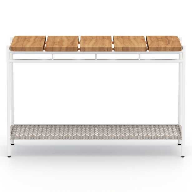 Baron Modern White Aluminum Outdoor Console Table - Kathy Kuo Home