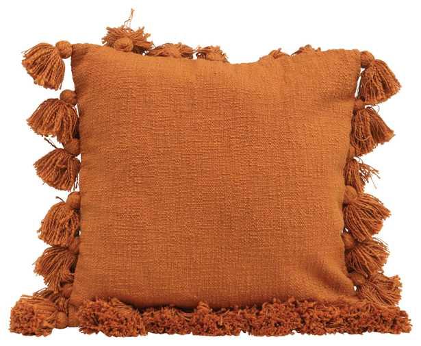 "Neva Pillow, 18""x 18"", Orange - Roam Common"