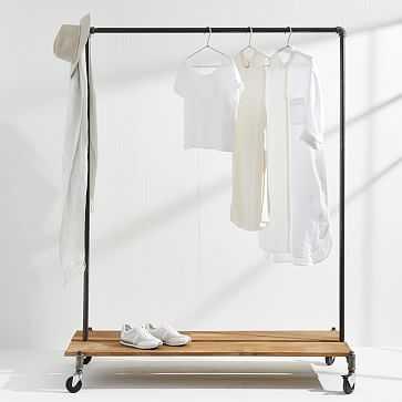 "Monroe Trades Clothing Rack + Distressed Wood Platform, 56"" H X 22"" D, With Hook - West Elm"
