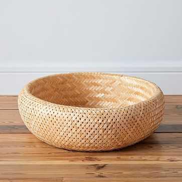 Honeypot Woven Basket, Low Wide - West Elm
