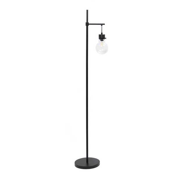 ALL THE RAGES 60 in. Black Matte 1 Light Beacon Floor Lamp with Clear glass shade - Home Depot