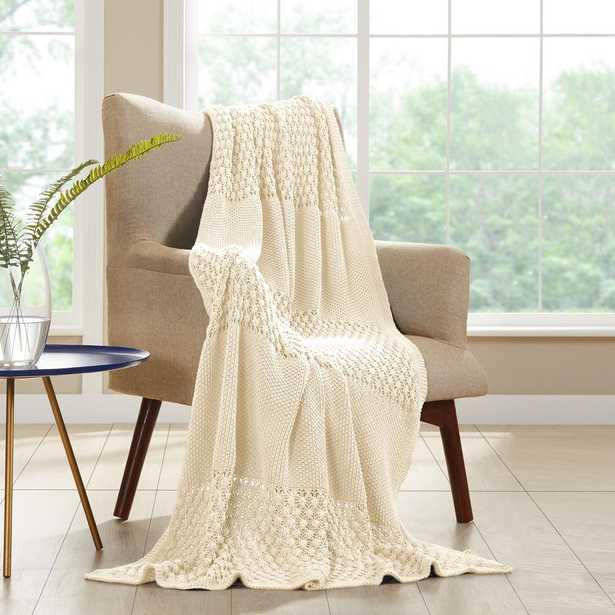 MODERN THREADS Antique White Cotton Cable Knit Throw - Home Depot