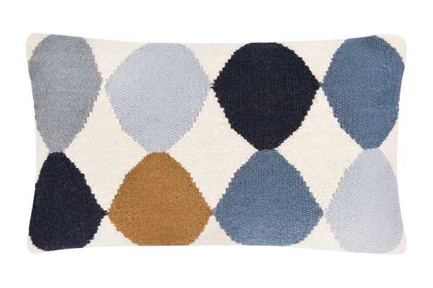 Off-White Wool Blend Lumbar Pillow with Blue & Brown Pattern - Nomad Home
