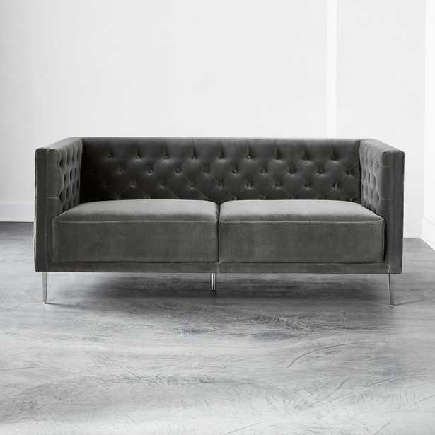 Savile Storm Velvet Apartment Sofa - CB2