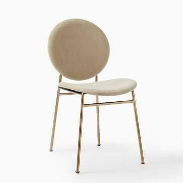 Ingrid Dining Chair, Distressed Velvet, Light Taupe, Light Bronze - West Elm