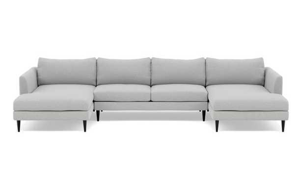 Owens U-Sectional with Grey Ecru Fabric and Unfinished GunMetal legs - Interior Define
