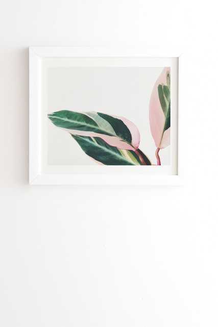 "Pink Leaves Ii by Cassia Beck - Framed Wall Art Basic White 8"" x 9.5"" - Wander Print Co."