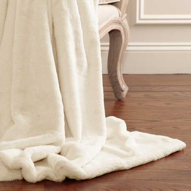 Luxe Faux Fur 84 in. L Cream (Ivory) Throw - Home Depot