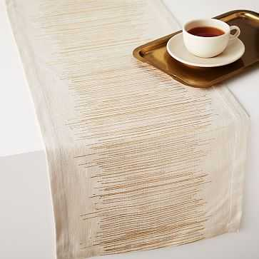 Luxe Lines Table Runner, Flax + Gold - West Elm