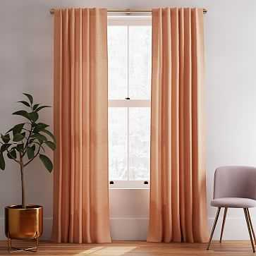 "Solid Belgian Linen Melange Curtain, Terracotta, 48""x96"" - West Elm"