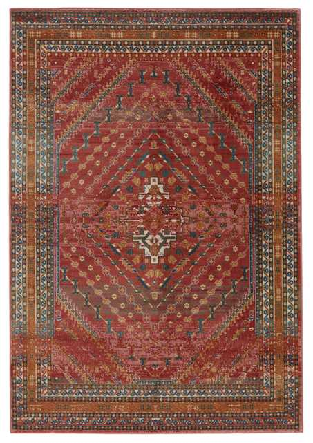 """Vibe By Selah Medallion Red/ Gold Area Rug (7'6""""X9'6"""") - Collective Weavers"""