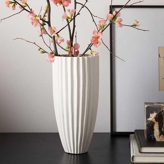 Sanibel Textured Vase, White, Wide Tall - West Elm