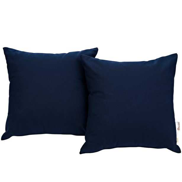 MODWAY Summon Sunbrella Square Outdoor Throw Pillow in Navy (Blue) 2-Piece Set - Home Depot