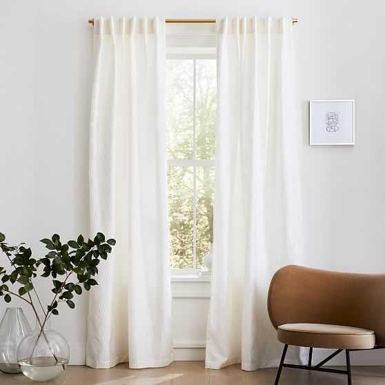 "Linear Lattice Jacquard Curtain, Alabaster, 48""x108"" - West Elm"