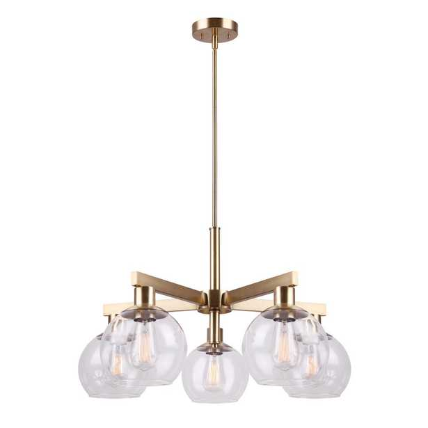 CANARM Landry 5-Light Gold Chandelier with Clear Glass Shades - Home Depot