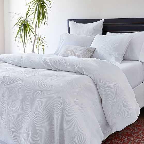 Tencel Cotton Matelasse Diamond Duvet & Standard Sham, White, Full/Queen - West Elm