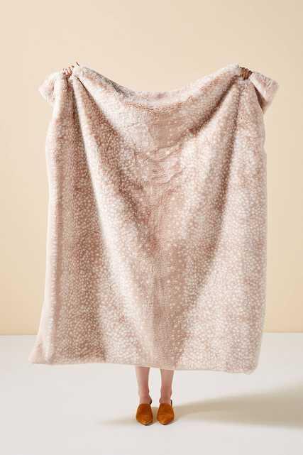 Fawn Faux Fur Throw Blanket - Anthropologie