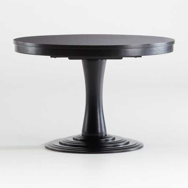 """Aniston Black 45"""" Round Extension Dining Table - Crate and Barrel"""