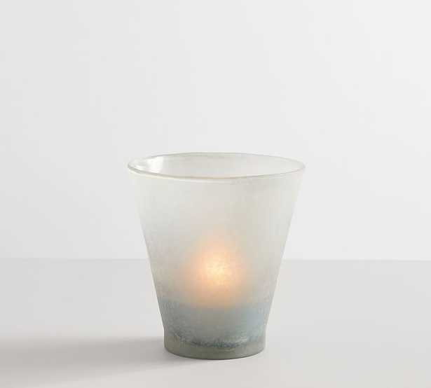 Laguna Frosted Hurricane, Blue, Small - Pottery Barn