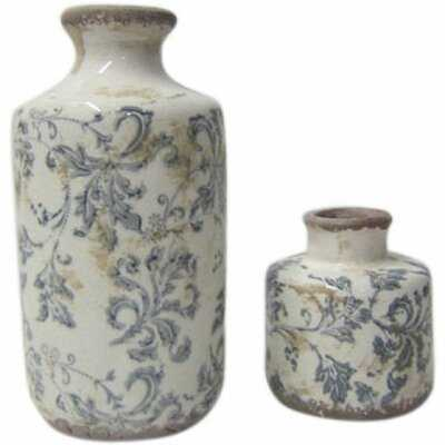2 Piece Luke White/Blue Ceramic Table Vase Set - Wayfair