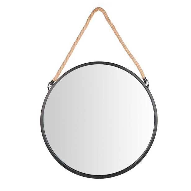 Industrial 20 in. Round Black Wall Mirror with Hanging Rope - Home Depot
