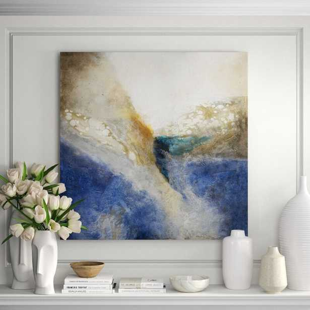 """JHR Art 'Stone Washed' Painting on Canvas in Blue Format: Gold Frame Canvas, Size: 44"""" H x 44"""" W x 2.25"""" D - Perigold"""