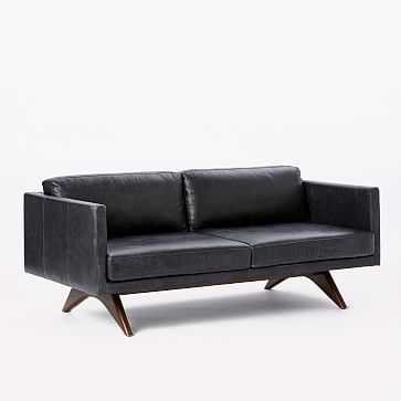 "Brooklyn 74""Charme Leather Sofa, Licorice - West Elm"