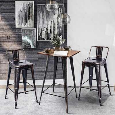 Distressesd Bar Table And Stools Set, Bamboo Tabletop,golden Black Stools - Wayfair