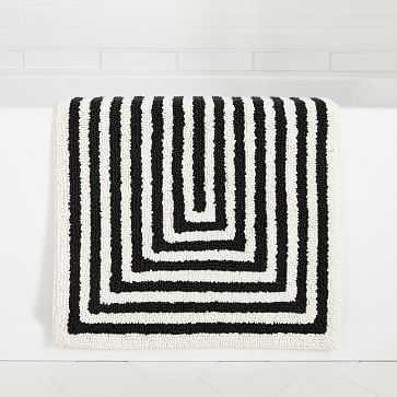 "Margo Selby Stacked Strata Bath Mat, 20""x34"", Black & White - West Elm"