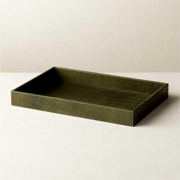 Heath Dark Green Leather Tray - CB2