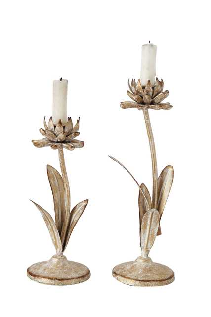 Cut Metal Flower Shaped Taper Candleholder in Distressed Gold Finish (Set of 2 Sizes) - Nomad Home