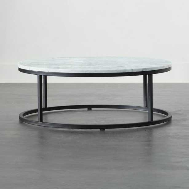 Smart Black Coffee Table with White Marble Top - CB2