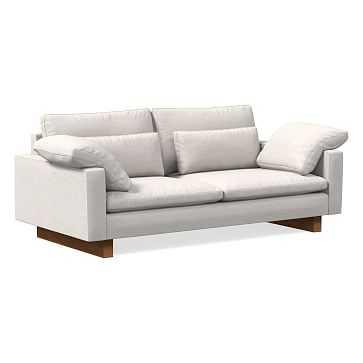 "Harmony 82"" Sofa, Down Blend, Performance Coastal Linen, White, Dark Walnut - West Elm"