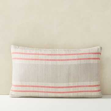 """Silk Stripes Pillow Cover, 12""""x21"""", Frost Gray - West Elm"""