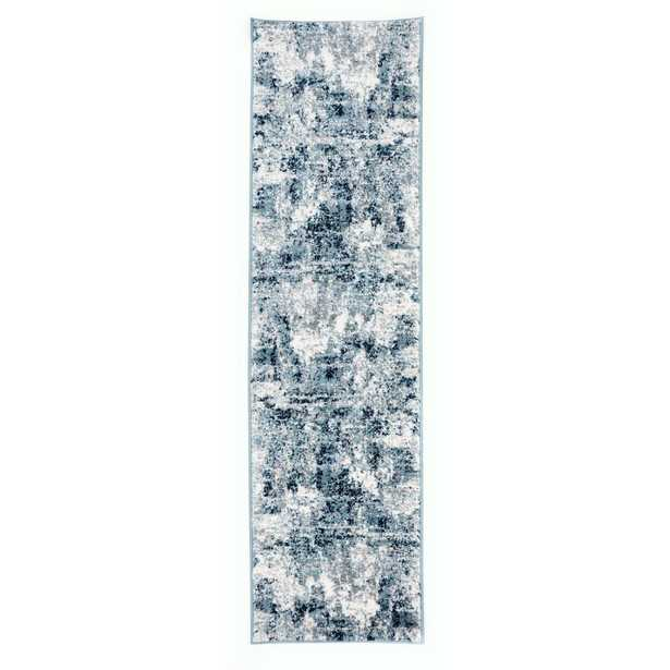 World Rug Gallery Contemporary Distressed Abstract Shades 2'x7' Blue Runner Rug - Home Depot